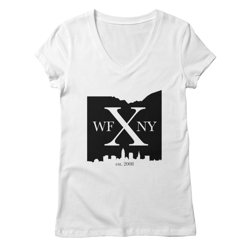 WFNYX Cleveland Skyline Women's Regular V-Neck by WFNY - WaitingForNextYear