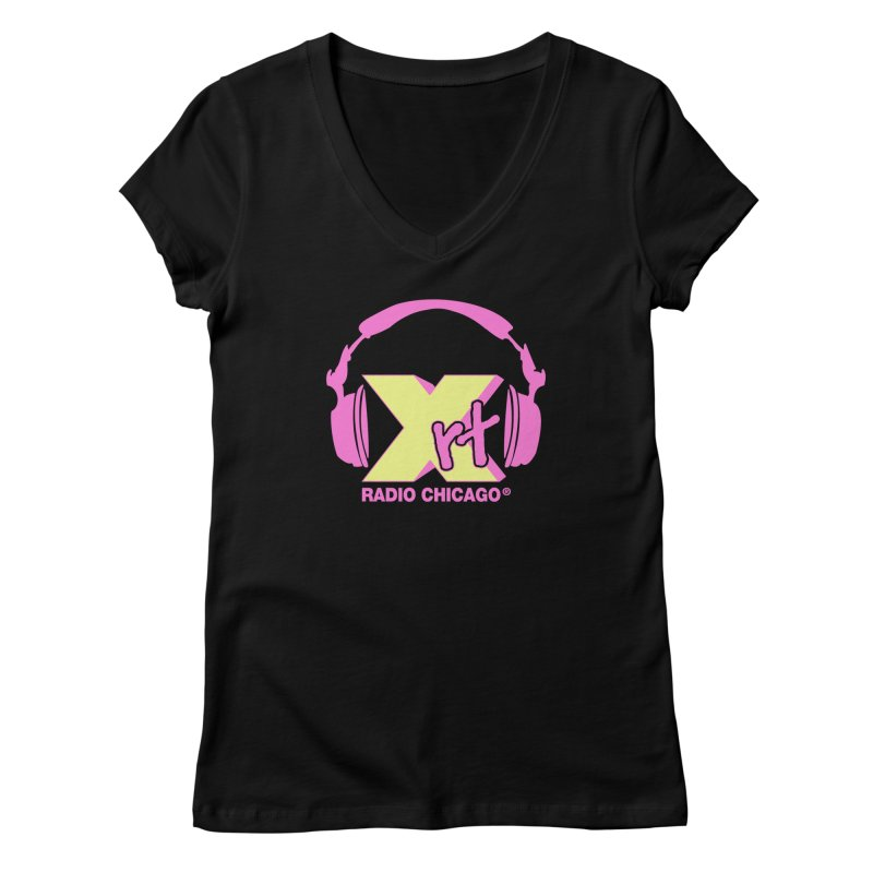XRT 80s Headphone Women's V-Neck by 93XRT