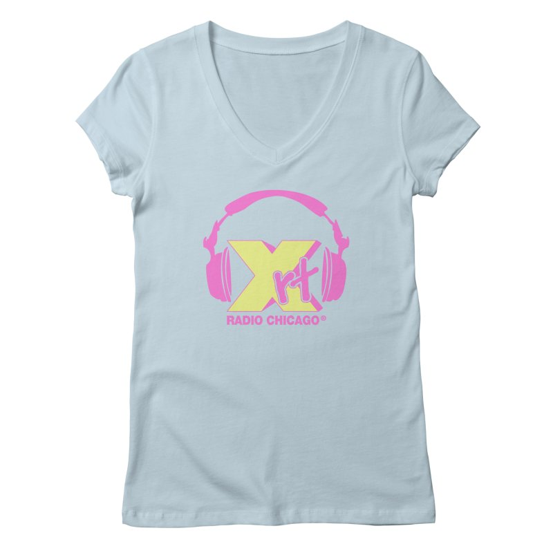 XRT 80s Headphone Women's V-Neck by WXRT's Artist Shop