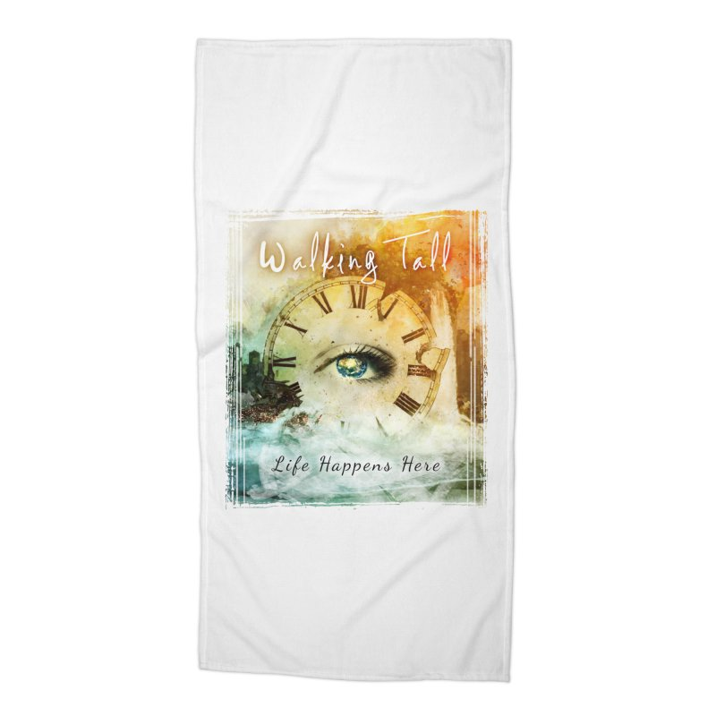 Walking Tall-Life Happens Here-White Accessories Beach Towel by Walking Tall - Band Merch Shop