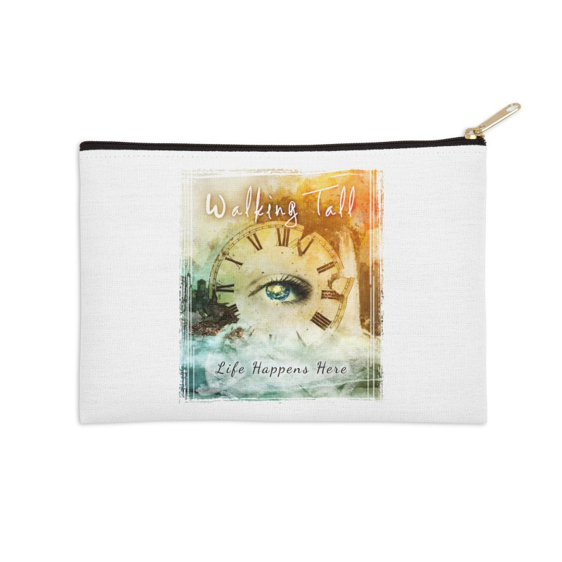 Walking Tall-Life Happens Here-White Accessories Zip Pouch by Walking Tall - Band Merch Shop