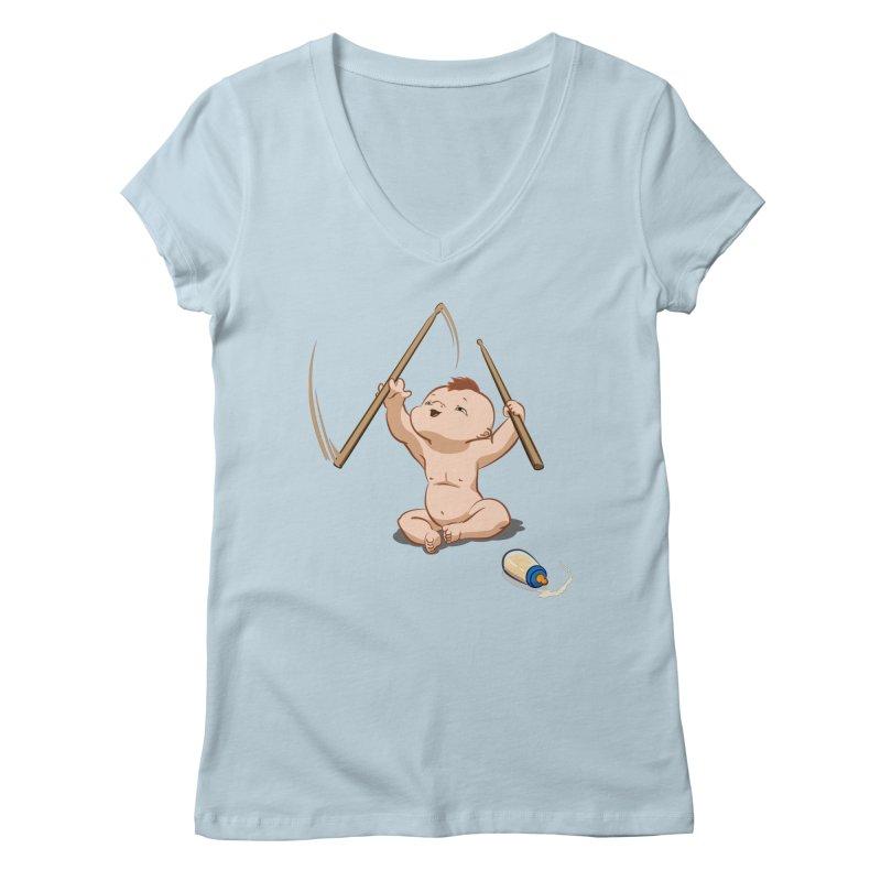 Born Makin' Beats Women's V-Neck by Wally's Shirt Shop