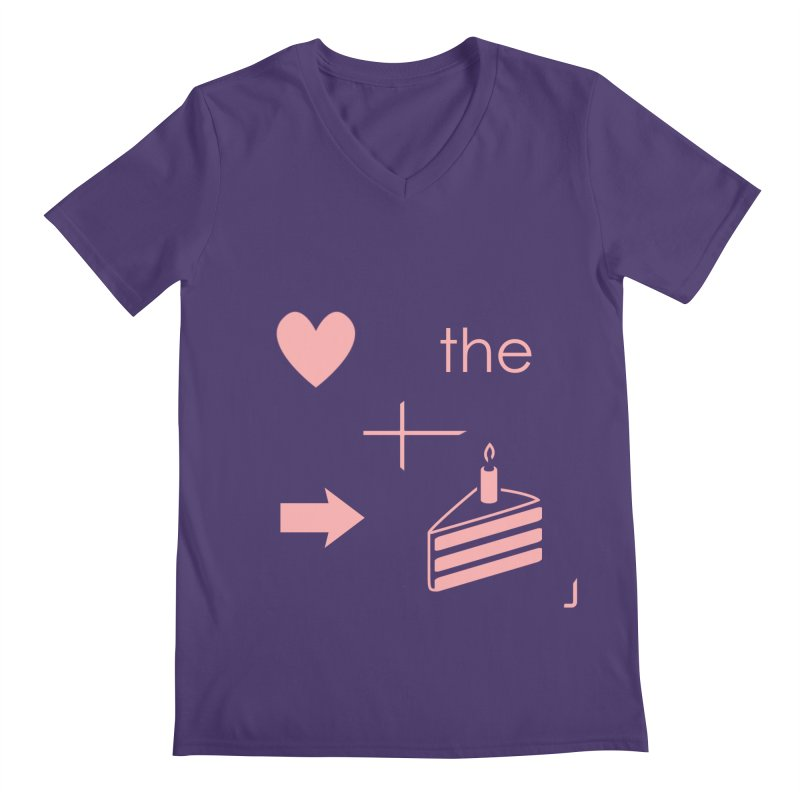Love The Right Cake Men's V-Neck by Wally's Shirt Shop