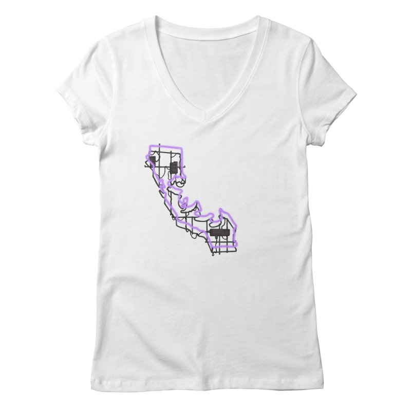 Purple Neon Sign Women's V-Neck by We Are California Grown's  Artist Shop