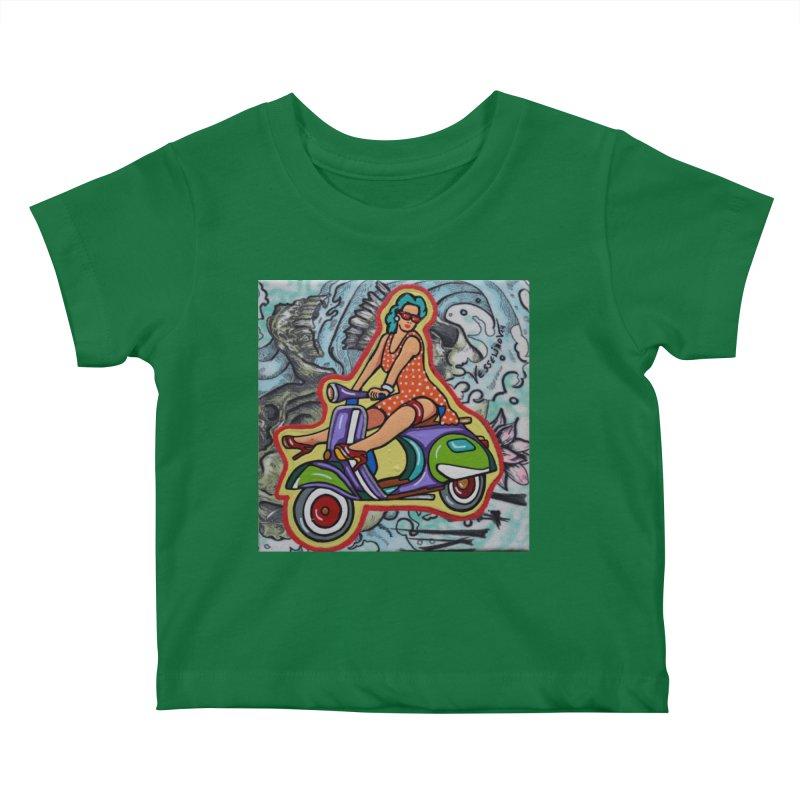 The Vespa girl by Vlado V Kids Baby T-Shirt by We Wear Art Light