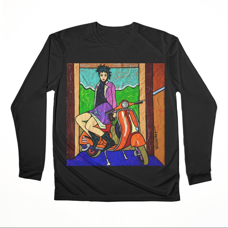 The Italian Vespa Girl by Vlado V Women's Longsleeve T-Shirt by We Wear Art Light