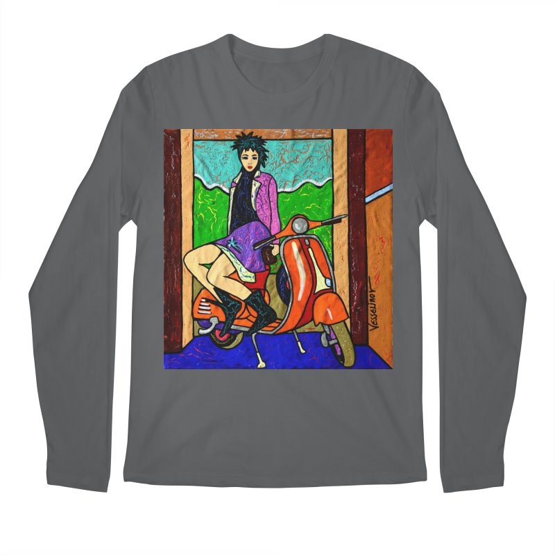 The Italian Vespa Girl by Vlado V Men's Longsleeve T-Shirt by We Wear Art Light