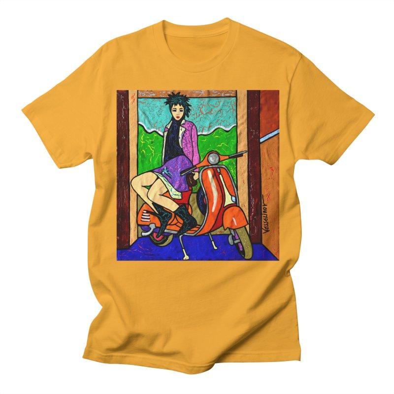 The Italian Vespa Girl by Vlado V Men's Regular T-Shirt by We Wear Art Light