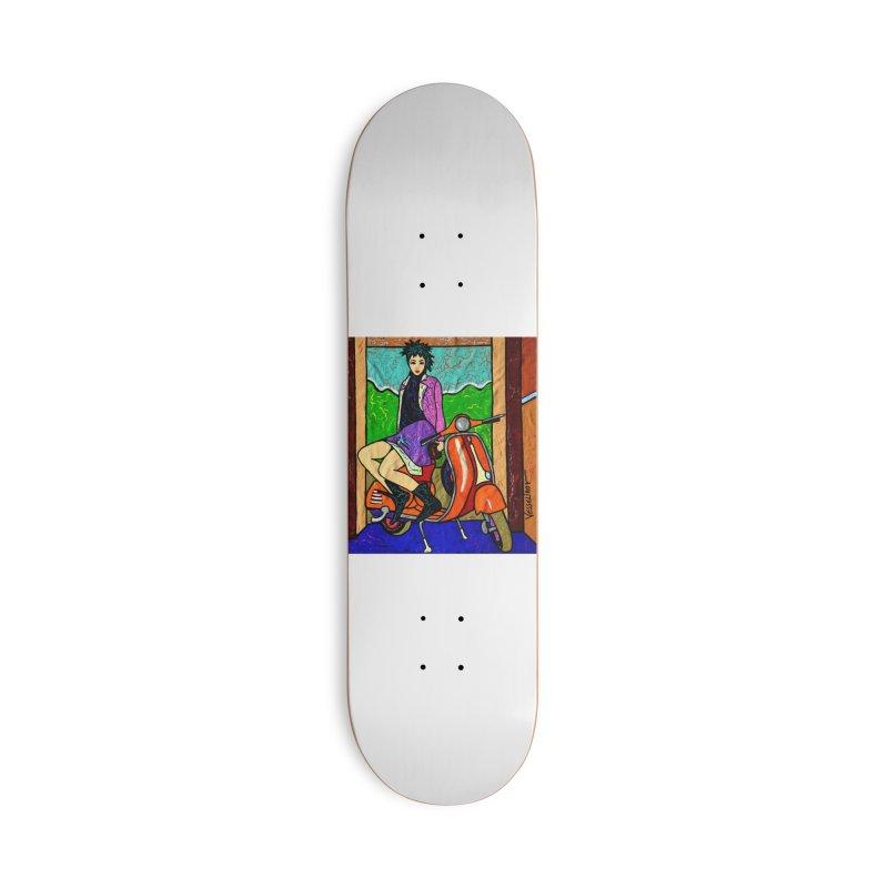 The Italian Vespa Girl by Vlado V Accessories Skateboard by We Wear Art Light