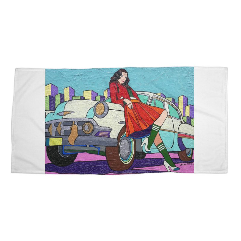 Chevy Girl by Vlado V Accessories Beach Towel by We Wear Art Light