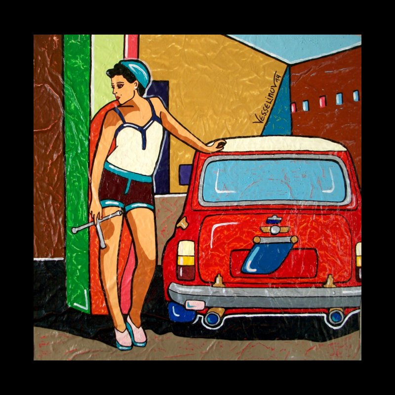 The Mini Cooper girl Accessories Beach Towel by We Wear Art Light