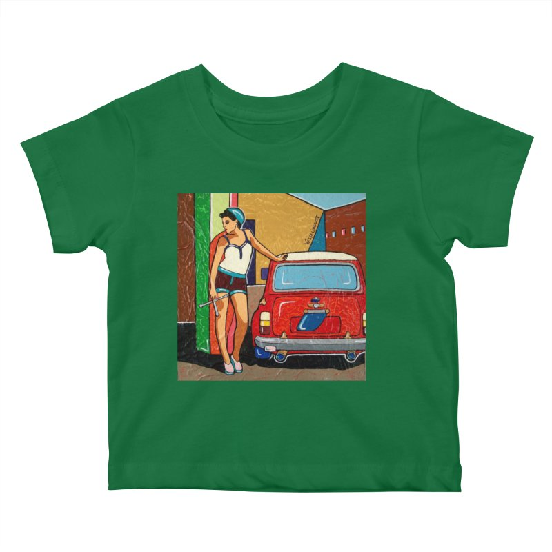 The Mini Cooper girl Kids Baby T-Shirt by We Wear Art Light