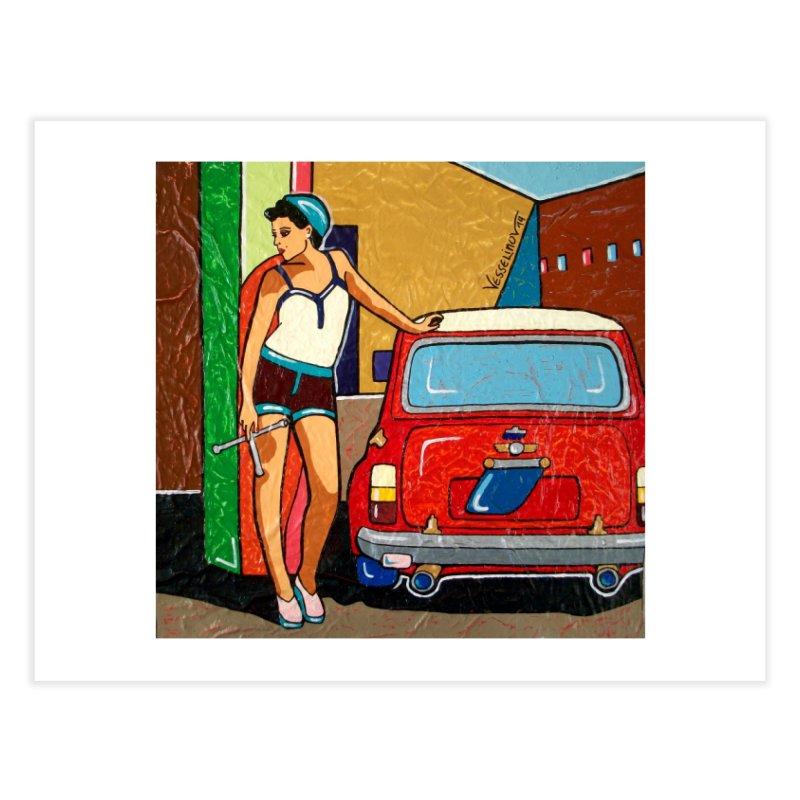 The Mini Cooper girl Home Fine Art Print by We Wear Art Light