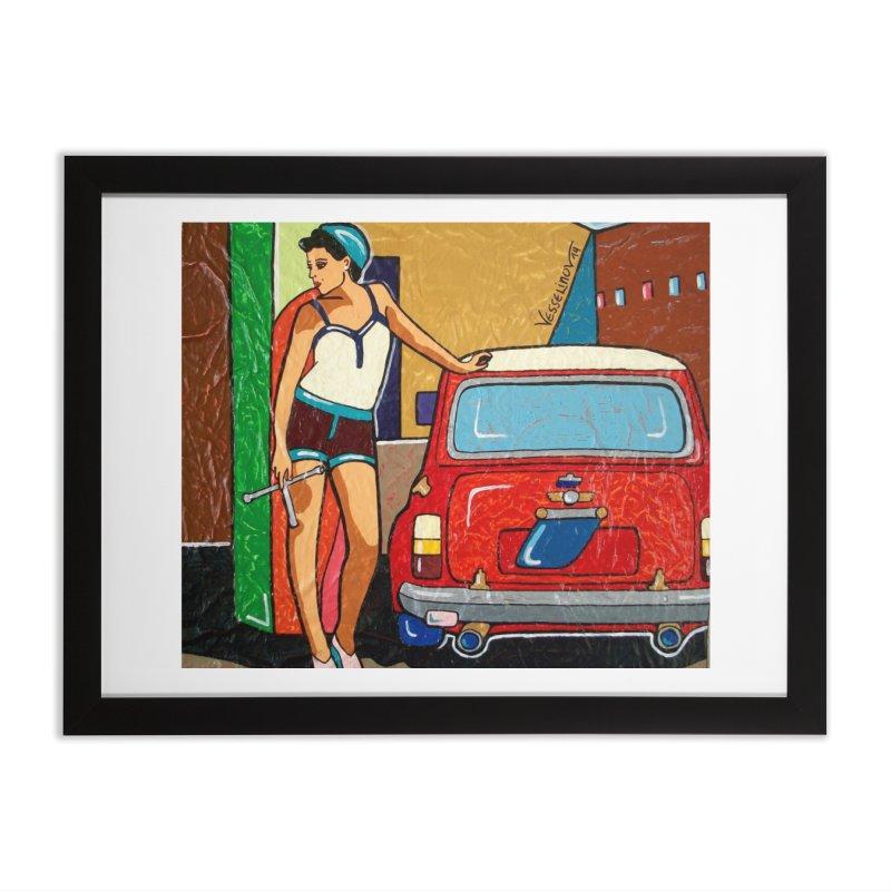 The Mini Cooper girl Home Framed Fine Art Print by We Wear Art Light