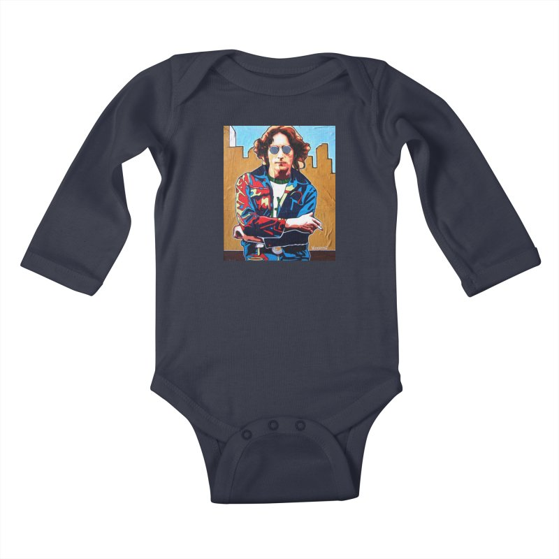 John Lennon by Vlado V Kids Baby Longsleeve Bodysuit by We Wear Art Light
