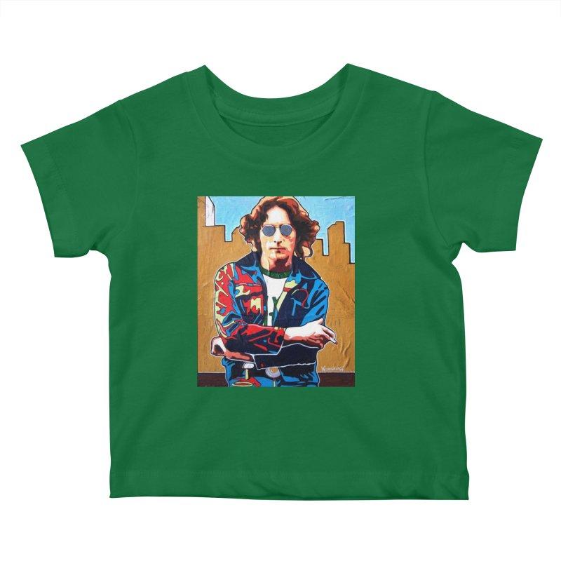 John Lennon by Vlado V Kids Baby T-Shirt by We Wear Art Light