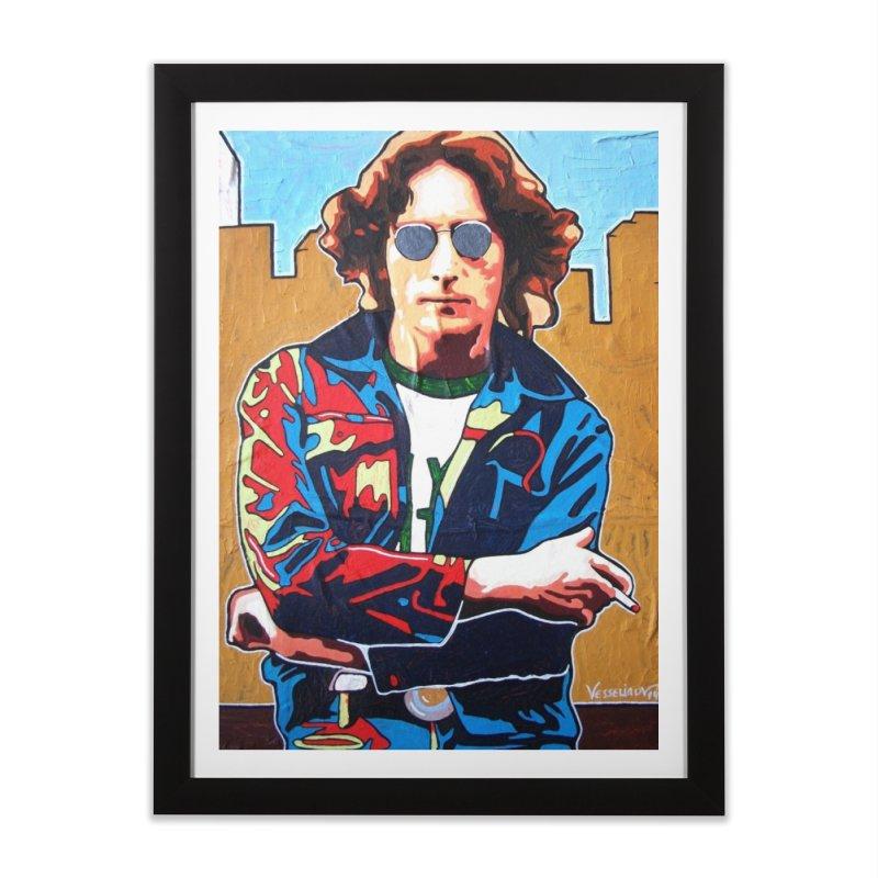 John Lennon by Vlado V Home Framed Fine Art Print by We Wear Art Light