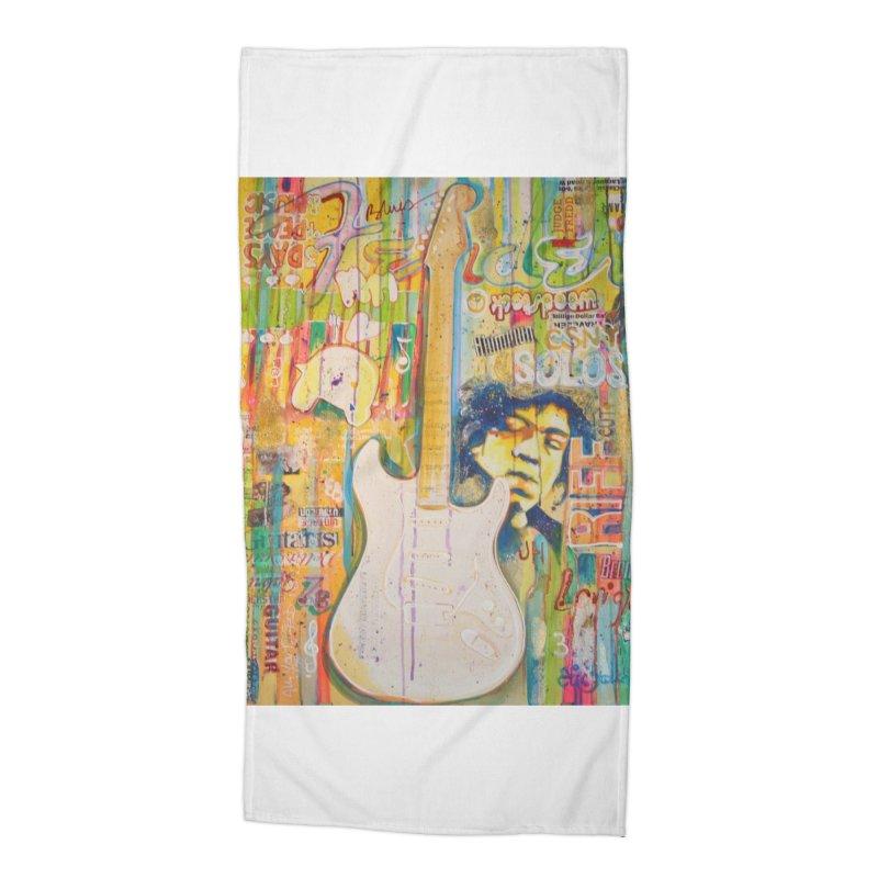 Jimmy Hendrix by Eric B Accessories Beach Towel by We Wear Art Light
