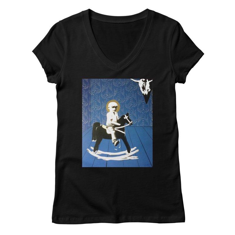 Wood Horse by Szymon K Women's V-Neck by We Wear Art Light