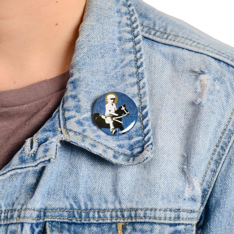 Wood Horse by Szymon K Accessories Button by We Wear Art Light