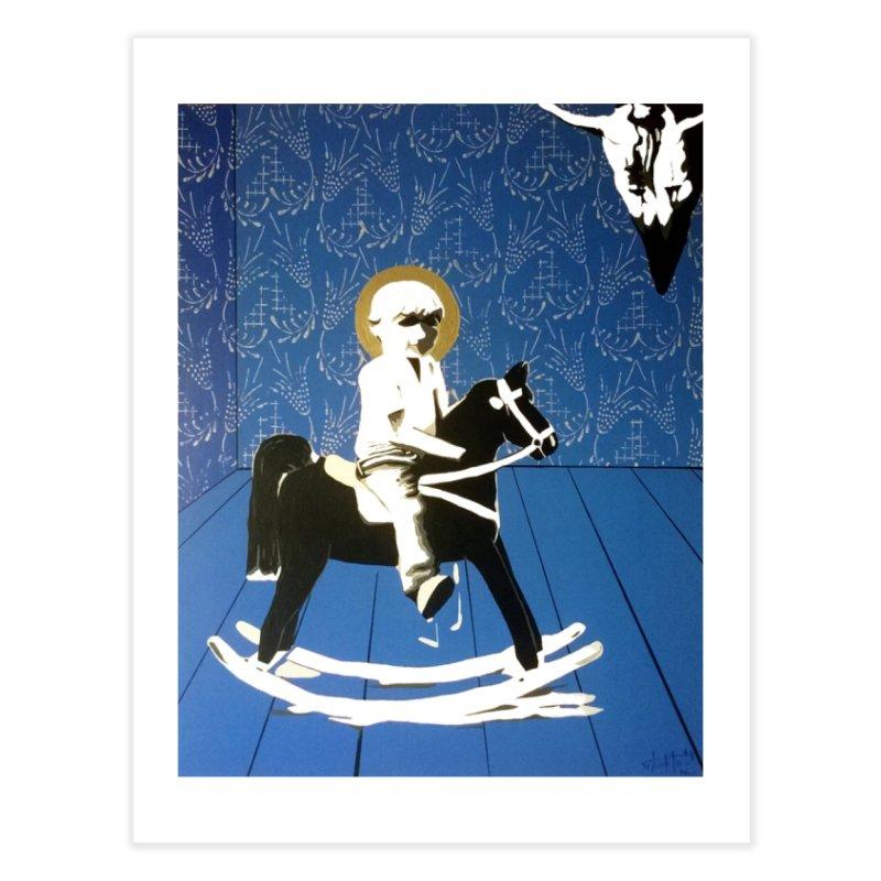 Wood Horse by Szymon K Home Fine Art Print by We Wear Art Light