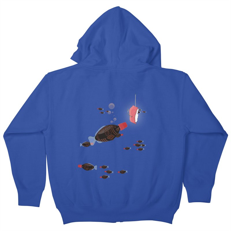 Deep Soy Fishing Kids Zip-Up Hoody by Westofoxley's Artist Shop