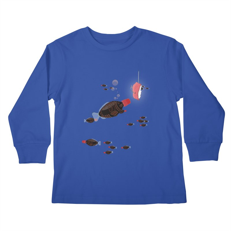 Deep Soy Fishing Kids Longsleeve T-Shirt by Westofoxley's Artist Shop