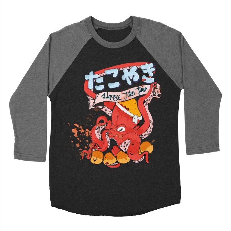 Takoyaki Time Men's Baseball Triblend T-Shirt by Westofoxley's Artist Shop