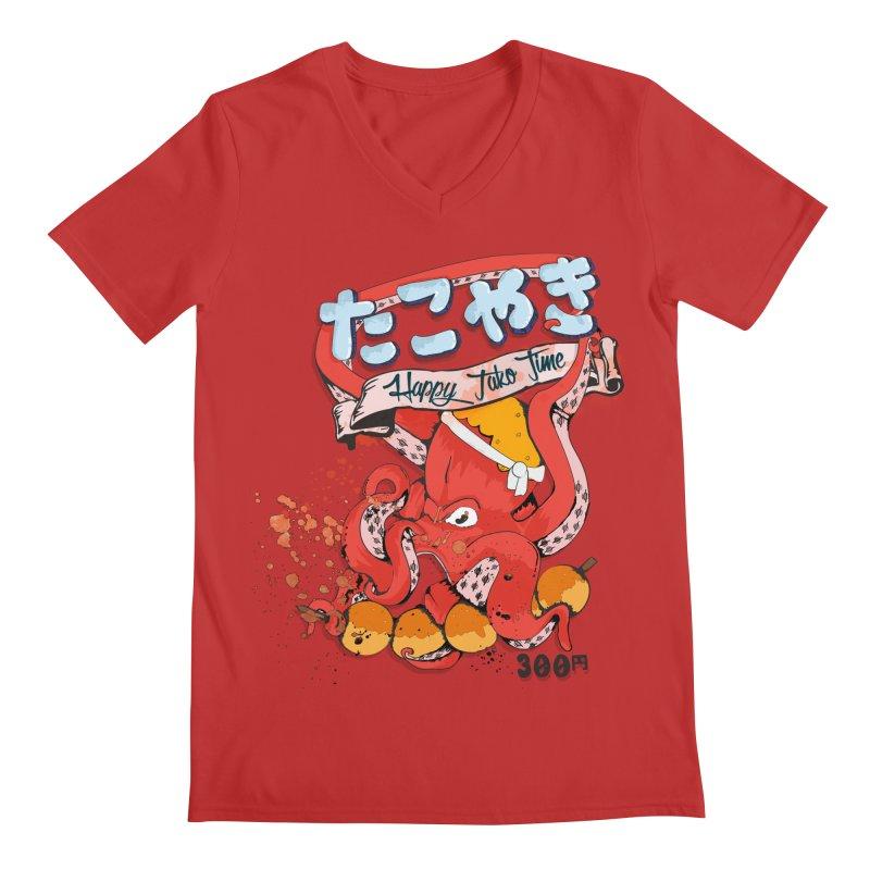 Takoyaki Time Men's V-Neck by Westofoxley's Artist Shop