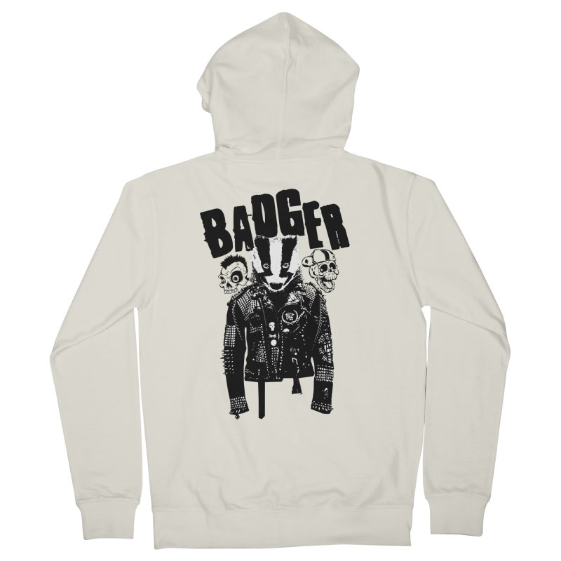 Badger Black Men's French Terry Zip-Up Hoody by Westofoxley's Artist Shop