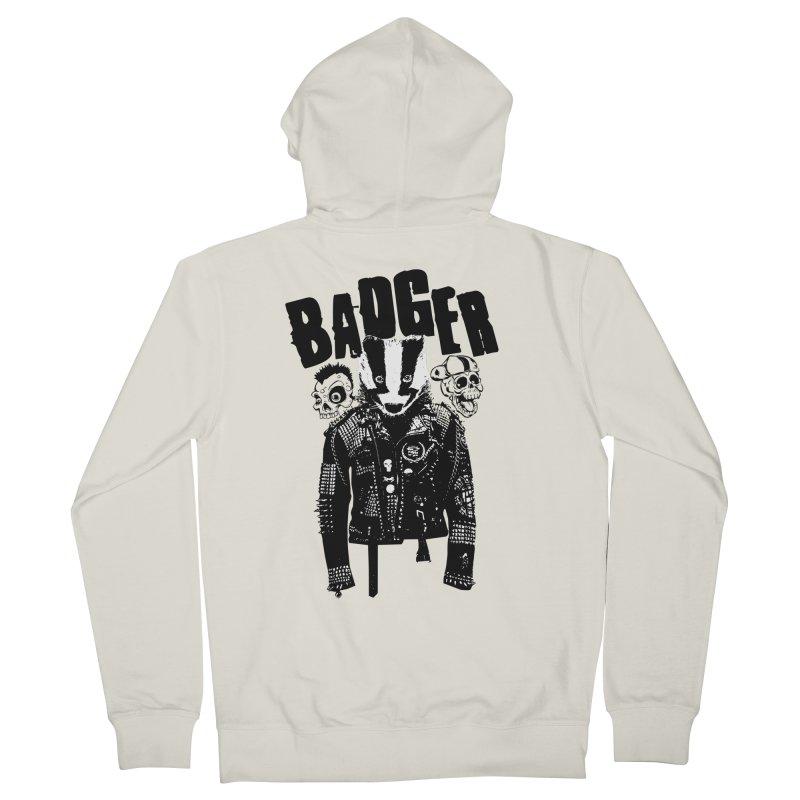 Badger Black Men's Zip-Up Hoody by Westofoxley's Artist Shop