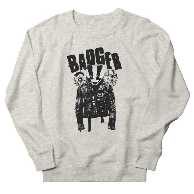 Badger Black Women's French Terry Sweatshirt by Westofoxley's Artist Shop