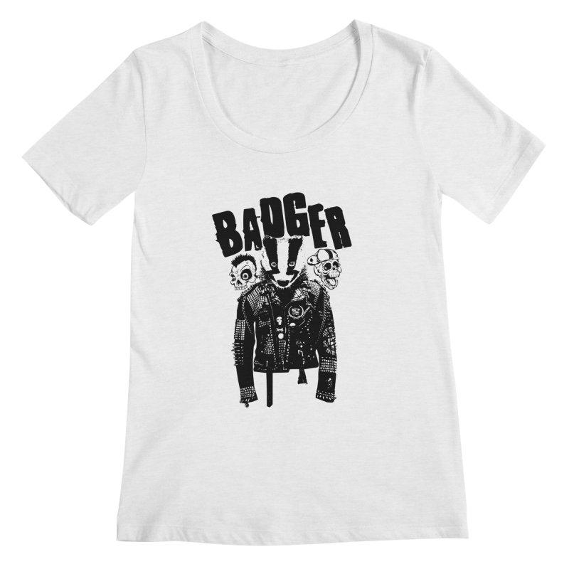 Badger Black Women's Regular Scoop Neck by Westofoxley's Artist Shop
