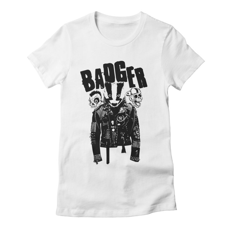 Badger Black Women's Fitted T-Shirt by Westofoxley's Artist Shop