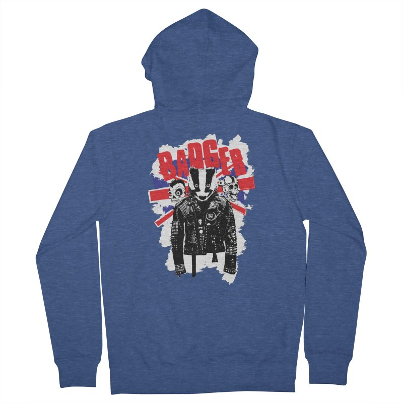 Punk Badger UK Men's French Terry Zip-Up Hoody by Westofoxley's Artist Shop