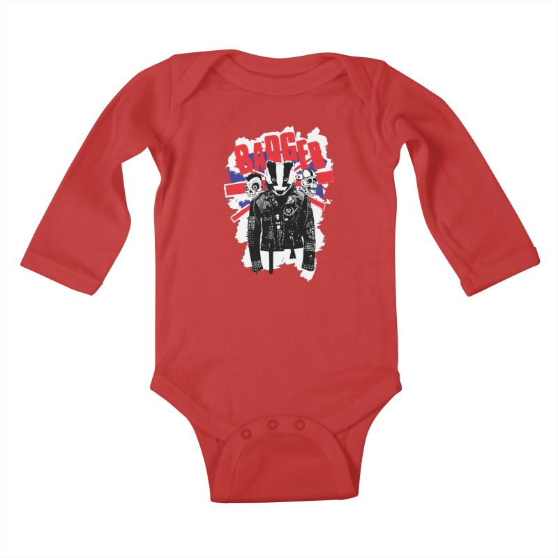 Punk Badger UK Kids Baby Longsleeve Bodysuit by Westofoxley's Artist Shop