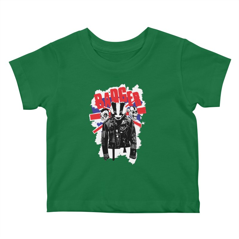 Punk Badger UK Kids Baby T-Shirt by Westofoxley's Artist Shop
