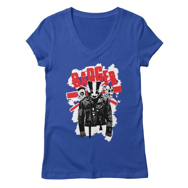 Punk Badger UK Women's V-Neck by Westofoxley's Artist Shop