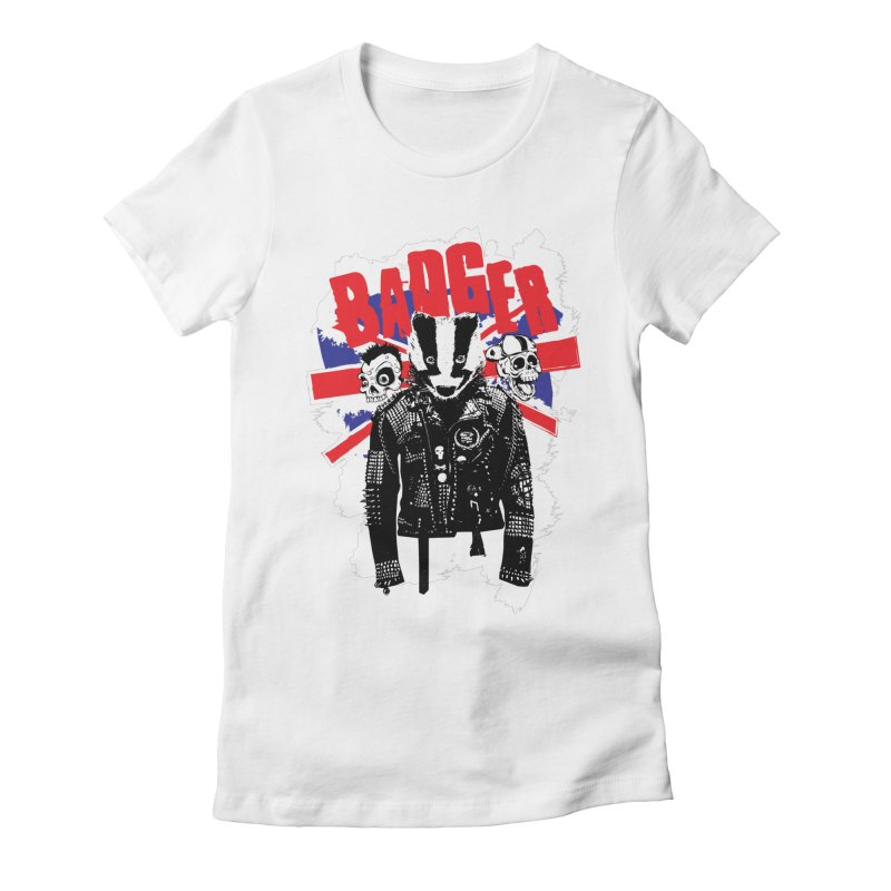 Punk Badger UK Women's Fitted T-Shirt by Westofoxley's Artist Shop