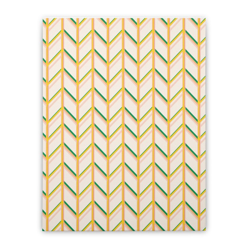 Colorful Yellow, Green, & Orange Chevron Pattern Design Home Stretched Canvas by The Whiskey Ginger