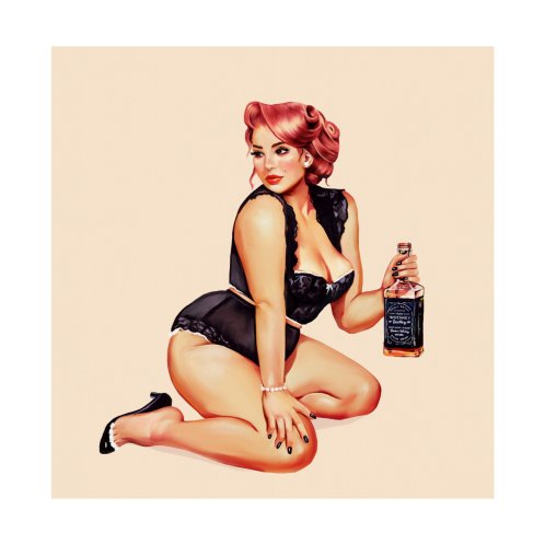 """Design for """"Hands Off Her Whiskey"""" Sexy & Curvy Vintage Pinup Girl"""