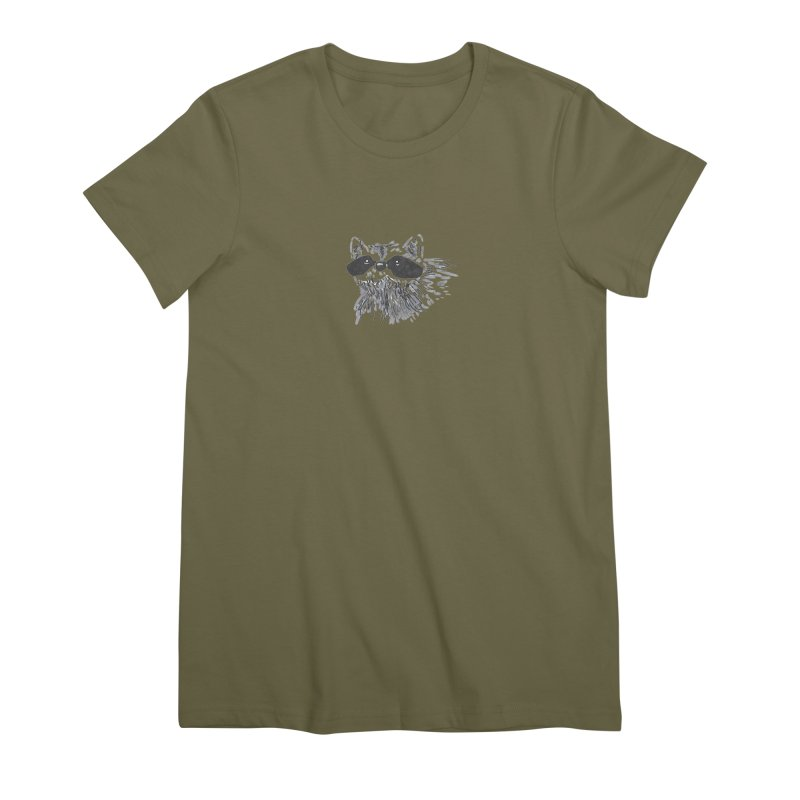 Cute Raccoon Hand-drawn Women's Premium T-Shirt by The Wilderness Store