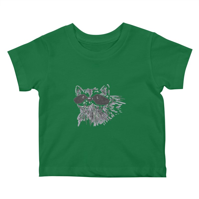 Cute Raccoon Hand-drawn Kids Baby T-Shirt by The Wilderness Store