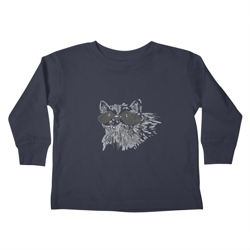 Cute Raccoon Hand-drawn Kids Toddler Longsleeve T-Shirt by The Wilderness Store