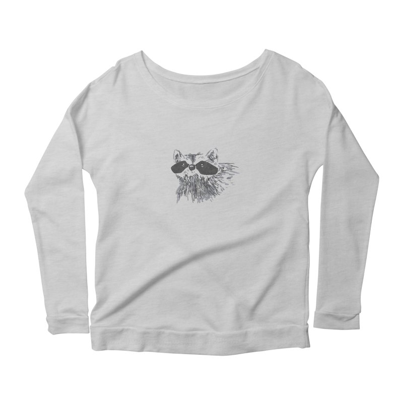Cute Raccoon Hand-drawn Women's Scoop Neck Longsleeve T-Shirt by The Wilderness Store