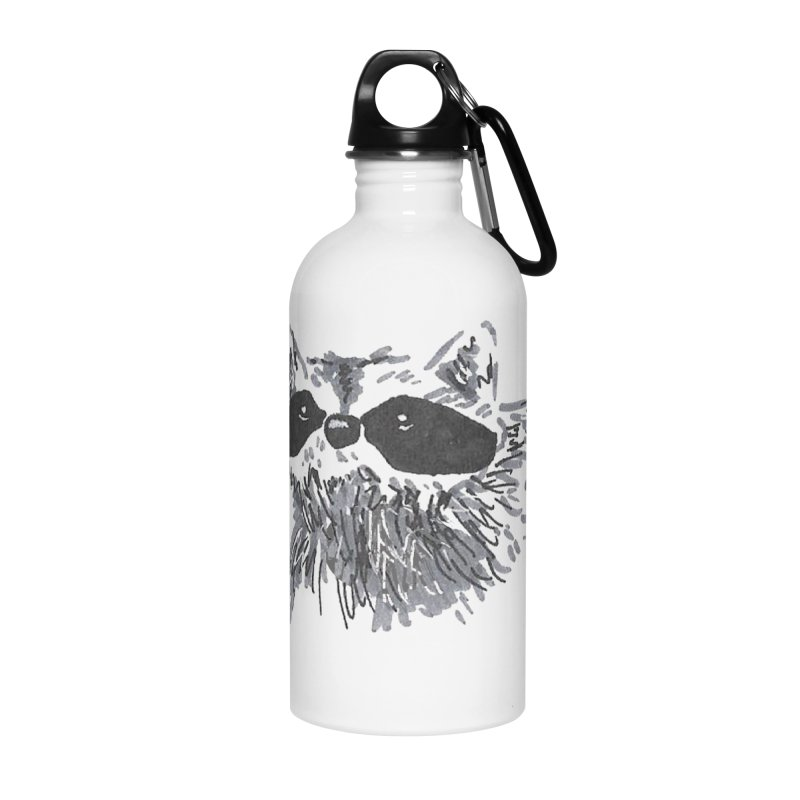 Cute Raccoon Hand-drawn Accessories Water Bottle by The Wilderness Store