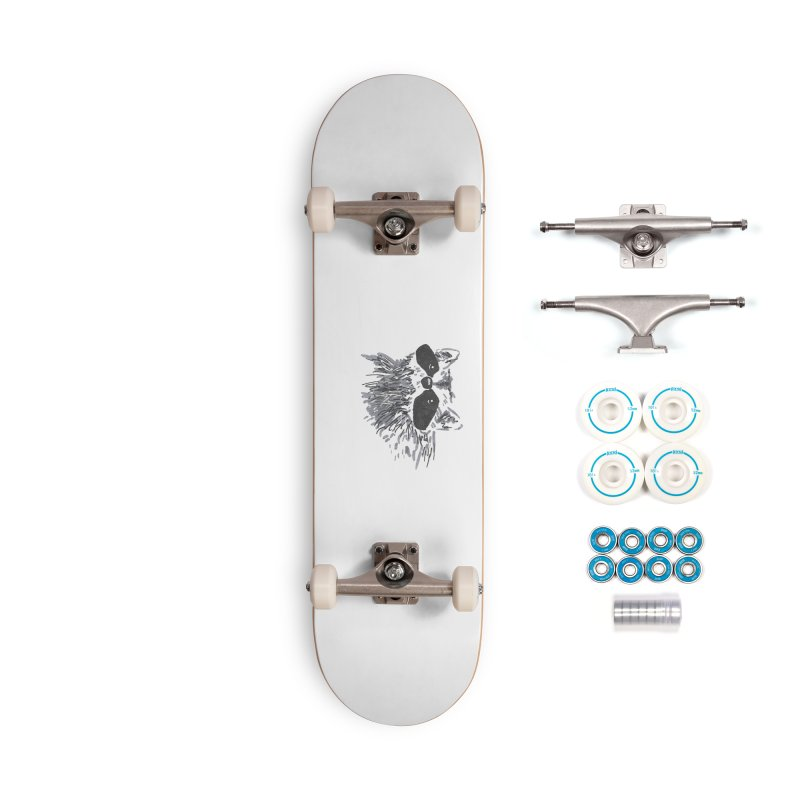 Cute Raccoon Hand-drawn Accessories Complete - Basic Skateboard by The Wilderness Store