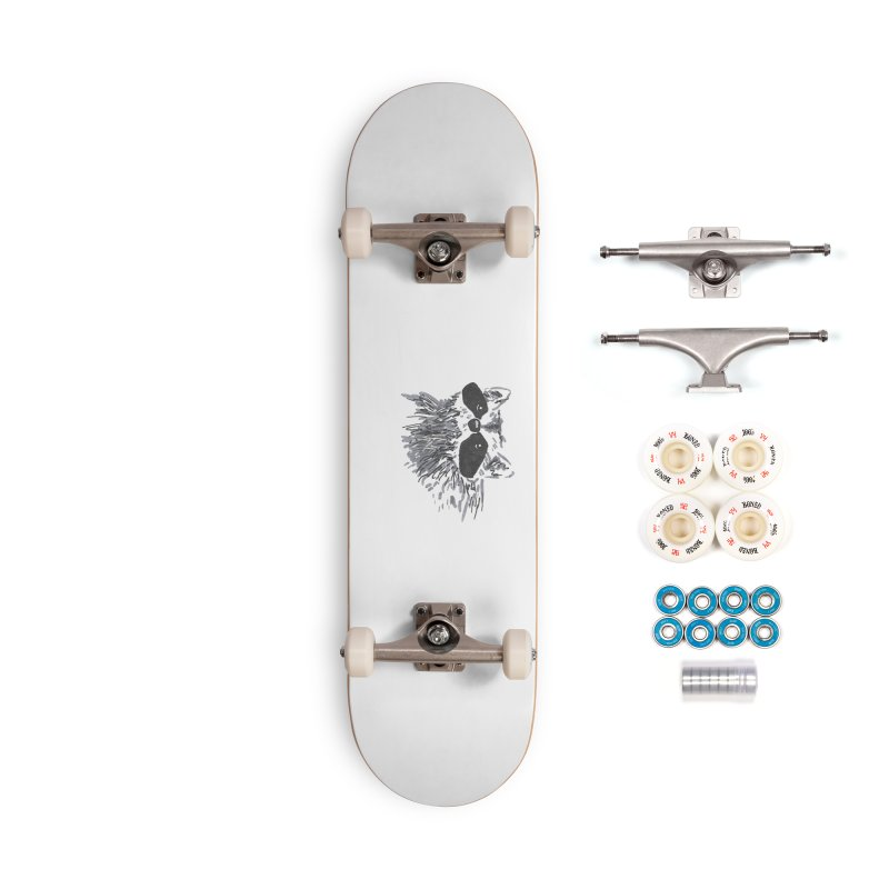 Cute Raccoon Hand-drawn Accessories Complete - Premium Skateboard by The Wilderness Store