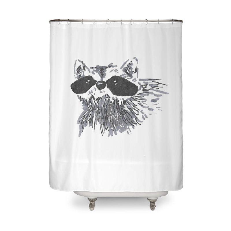 Cute Raccoon Hand-drawn Home Shower Curtain by The Wilderness Store
