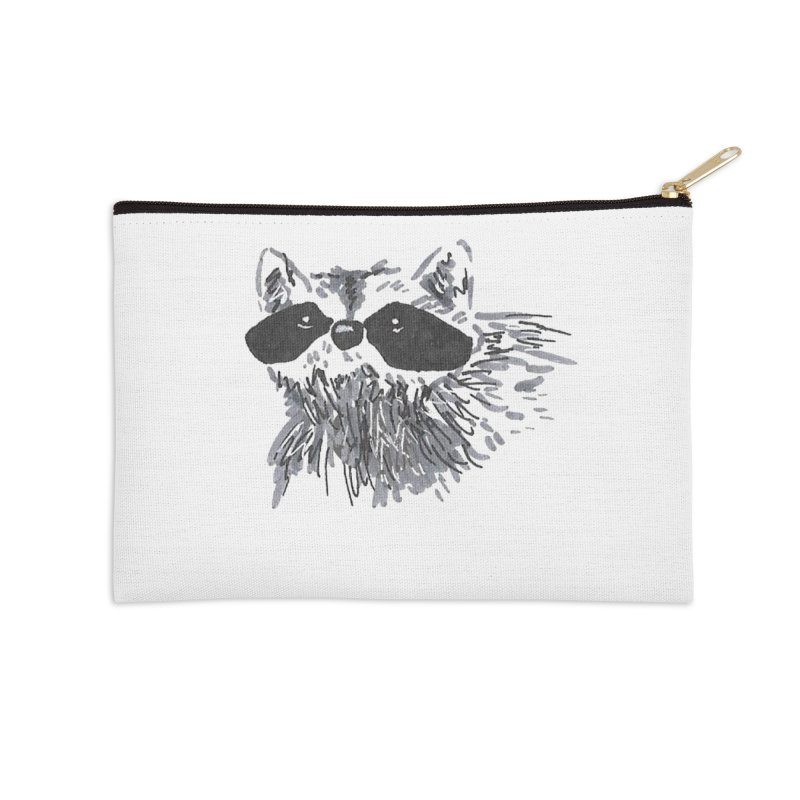 Cute Raccoon Hand-drawn Accessories Zip Pouch by The Wilderness Store